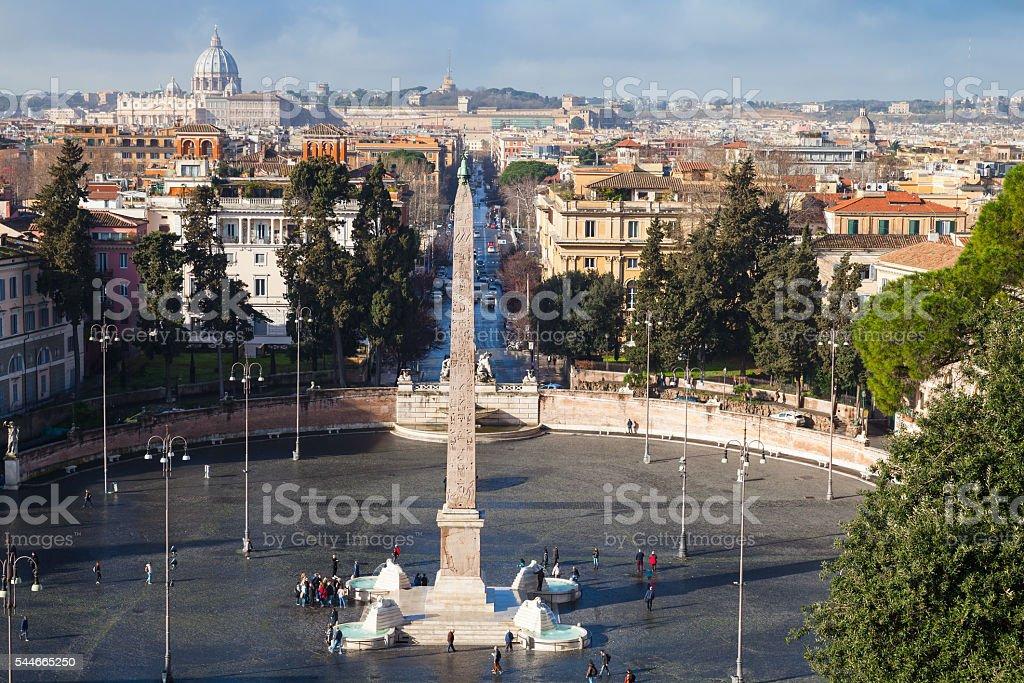 Rome, Italy cityscape. Piazza del Popolo stock photo