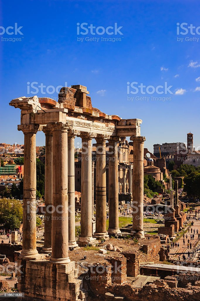 Rome, Italy - Classic view from Campidoglio, Temple of Saturn stock photo