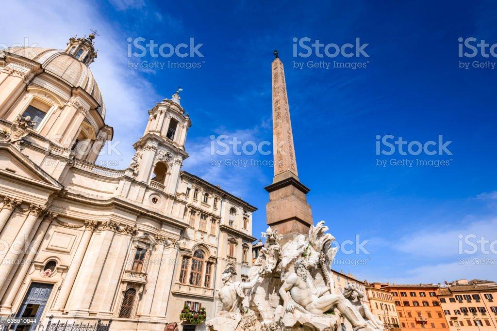 Rome, Italy - Egyptian obelisk in Piazza Navona stock photo