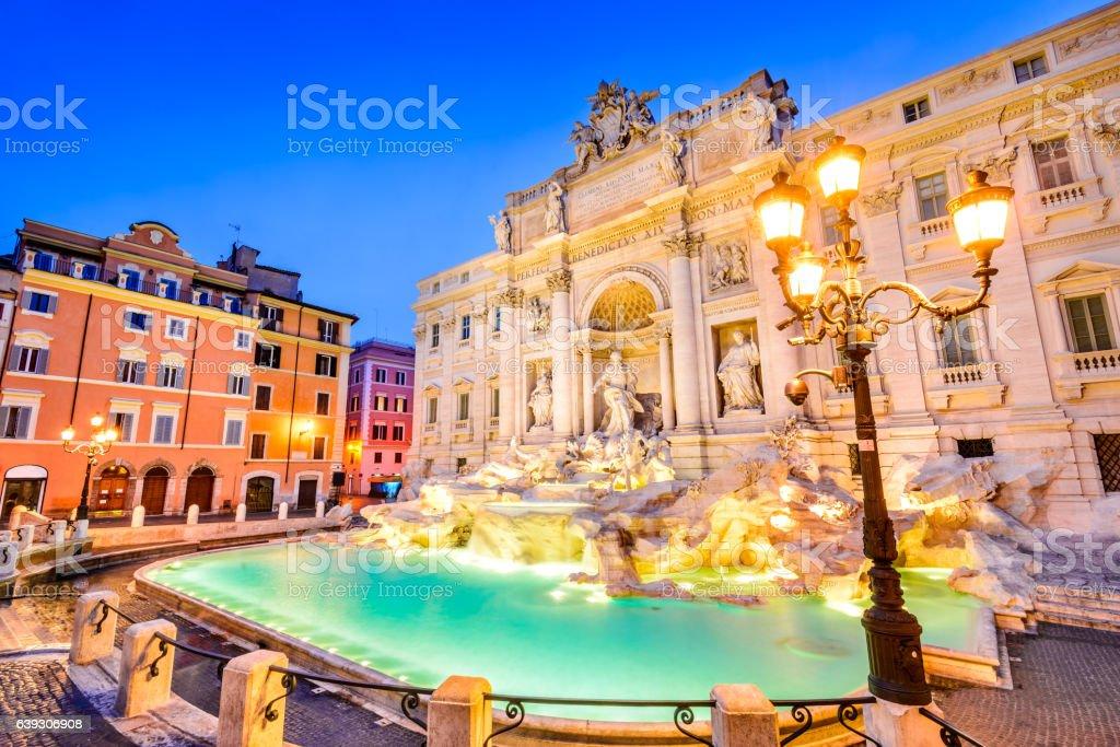Rome, Italy - Fontana di Trevi, night image stock photo