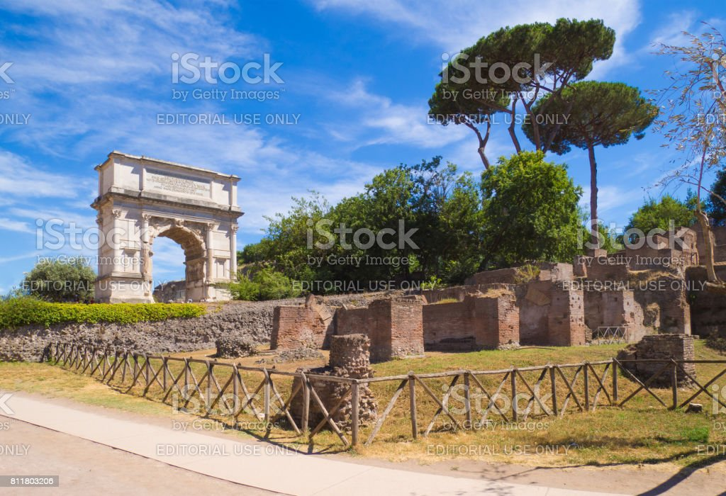 Rome, Italy - Fori Imperiali with monumental arch stock photo