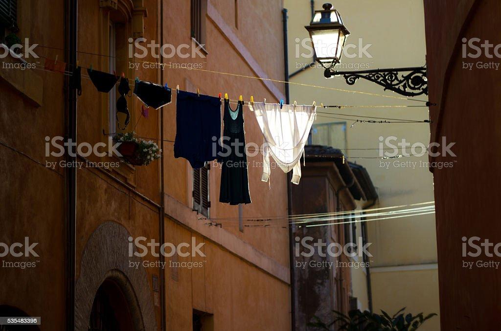 Rome, Italy: Laundry Catches the Light stock photo