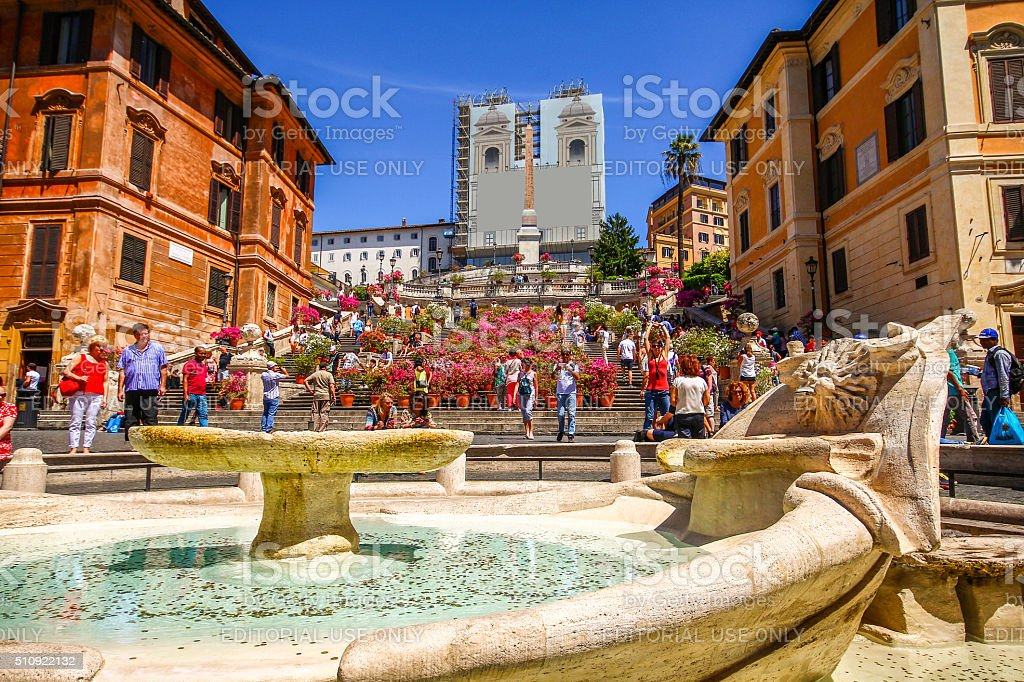 Rome, Italy - May 07, 2015 - Spanish Steps stock photo