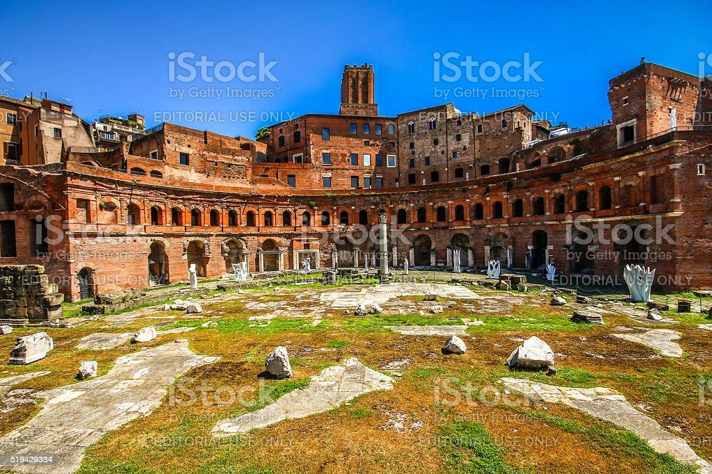 Rome, Italy - May 07, 2105 - Ancient Trajans Forum stock photo