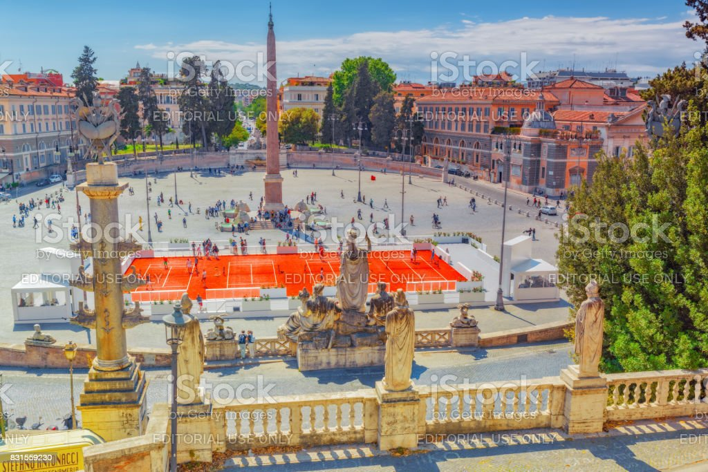Rome, Italy - May 08,2017 : One of the most beautiful Roman squares is the People's Square (Piazza del Popolo)  with people, tourists on it. Rome stock photo
