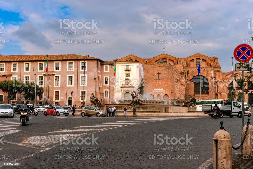 Rome, Italy - Piazza della Republica from Via Nazionale stock photo