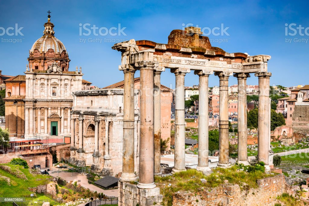 Rome, Italy - Ruins of Imperial Forum stock photo
