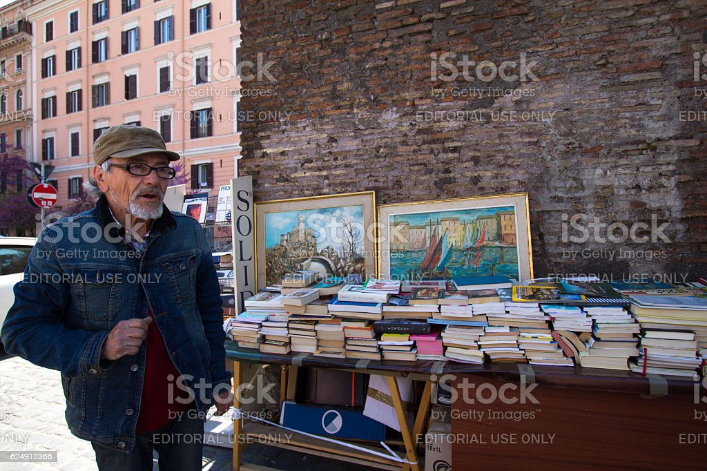 Rome, Italy: Street Book Vendor in San Lorenzo Neighborhood stock photo