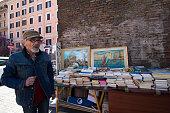 Rome, Italy: Street Book Vendor in San Lorenzo Neighborhood