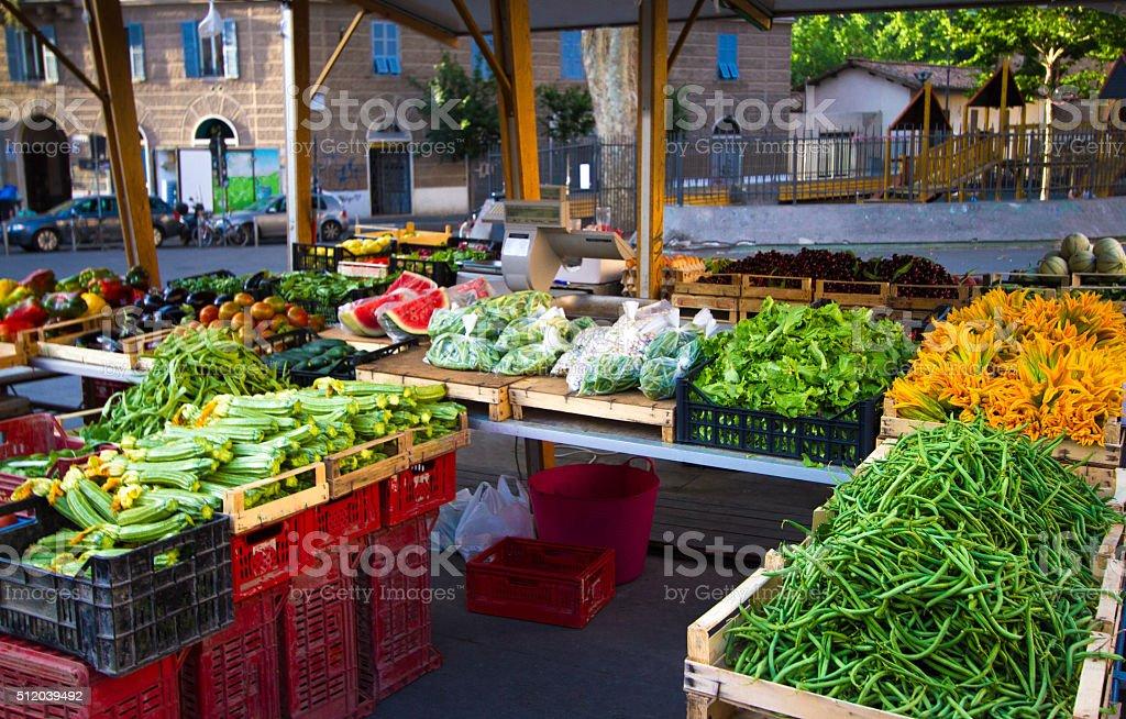 Rome, Italy: Summer Fruit and Veggie Market in Trastevere stock photo
