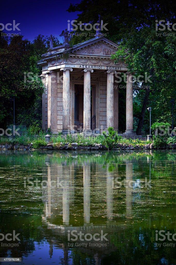 Rome, Italy. Temple of Esculapio in Villa Borghese Garden stock photo