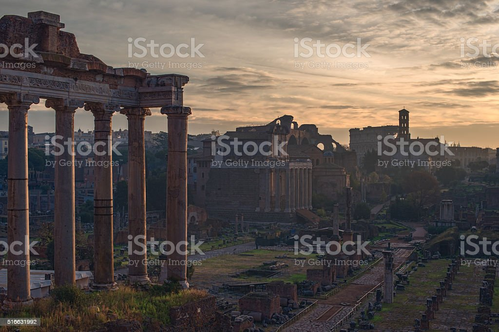 Rome, Italy: Temple of Saturn in Roman Forum stock photo