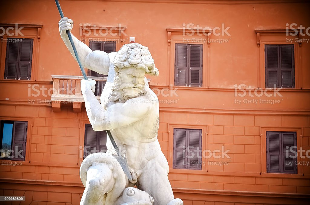 Rome Italy the fountain of Neptune at piazza Navona stock photo