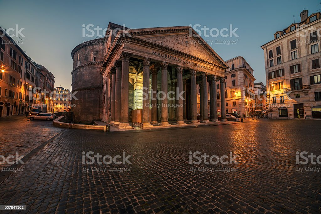 Rome, Italy: The Pantheon in the sunrise stock photo