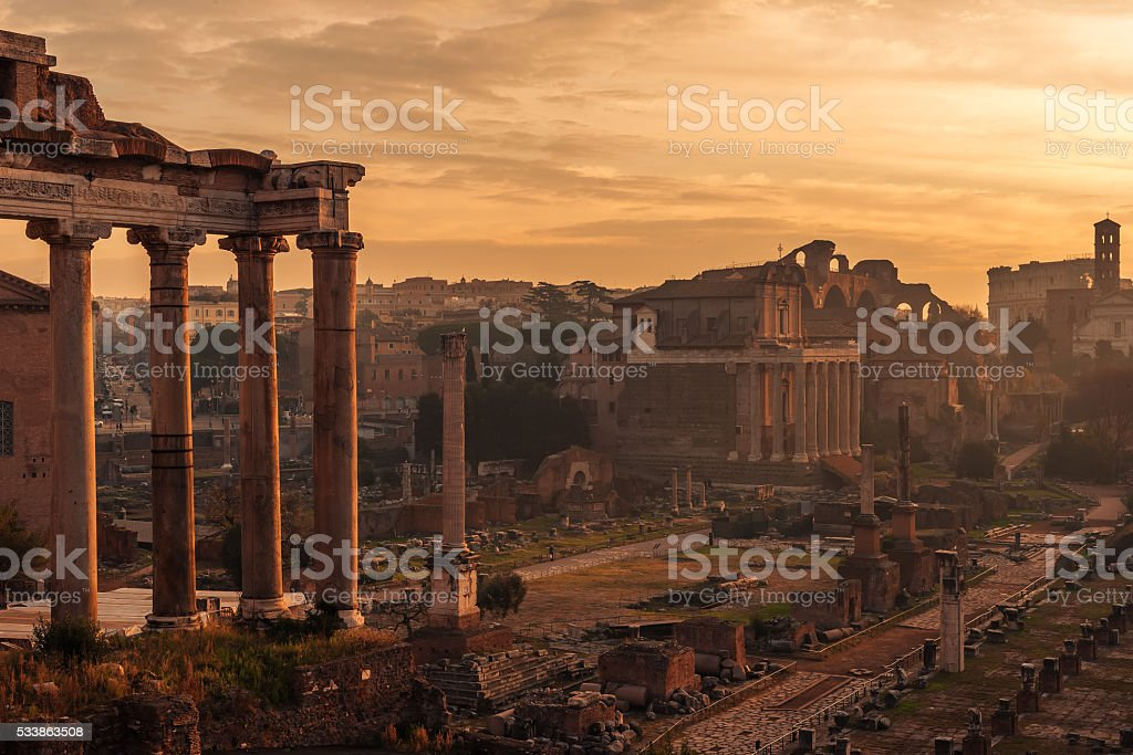 Rome, Italy: The Roman Forum. Old Town of the city stock photo