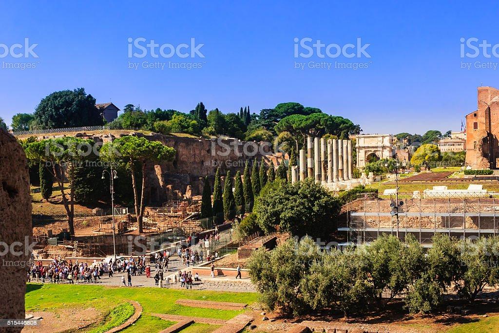 Rome, Italy - Via Sacra and Arch of Titus stock photo