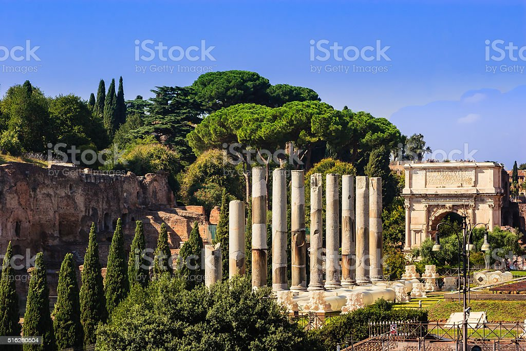 Rome, Italy - Via Sacra and Arch of Titus stock photo