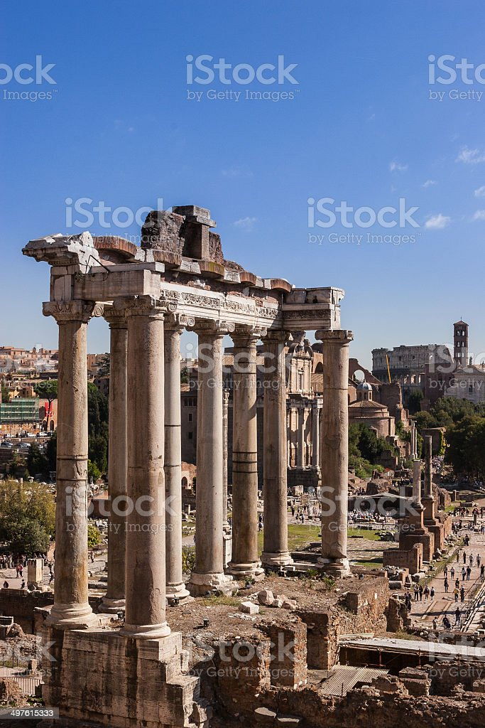 Rome, Italy - View from Campidoglio, Temple of Saturn stock photo