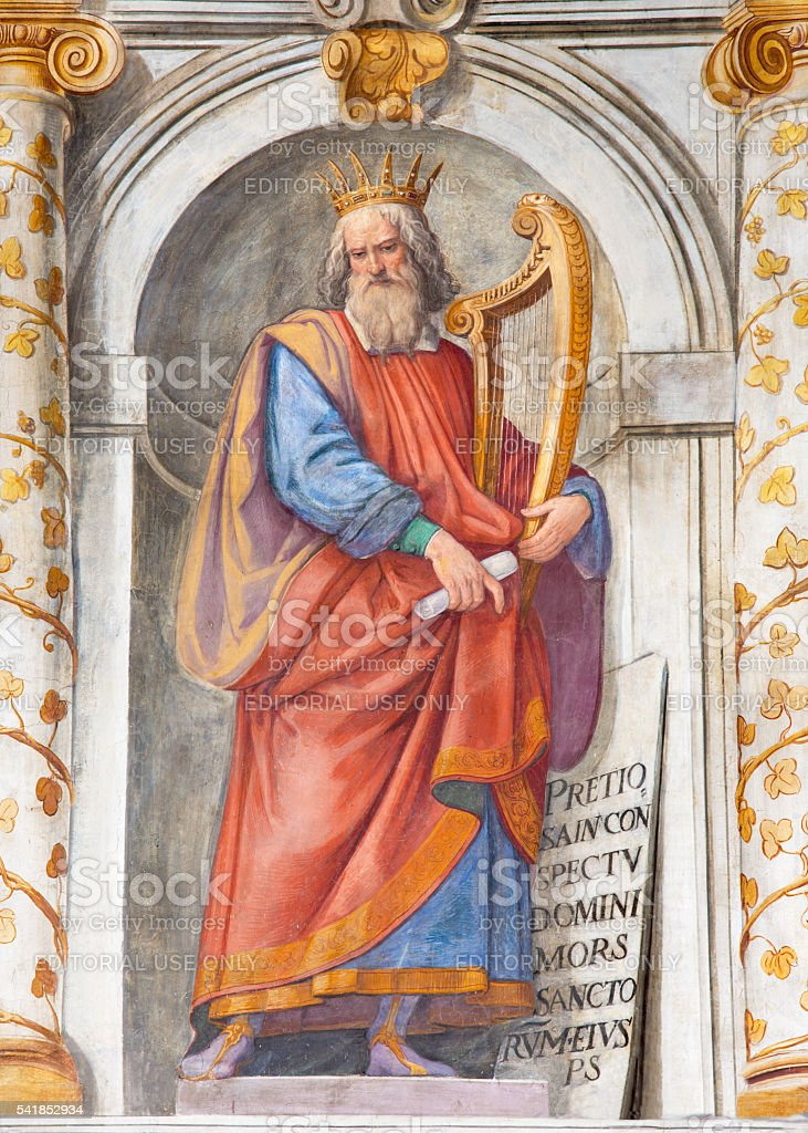 Rome - king David fresco in Basilica di San Vitale stock photo