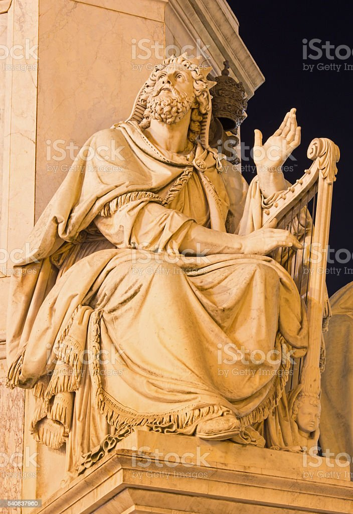 Rome - king David statue on Column of the Immaculate stock photo