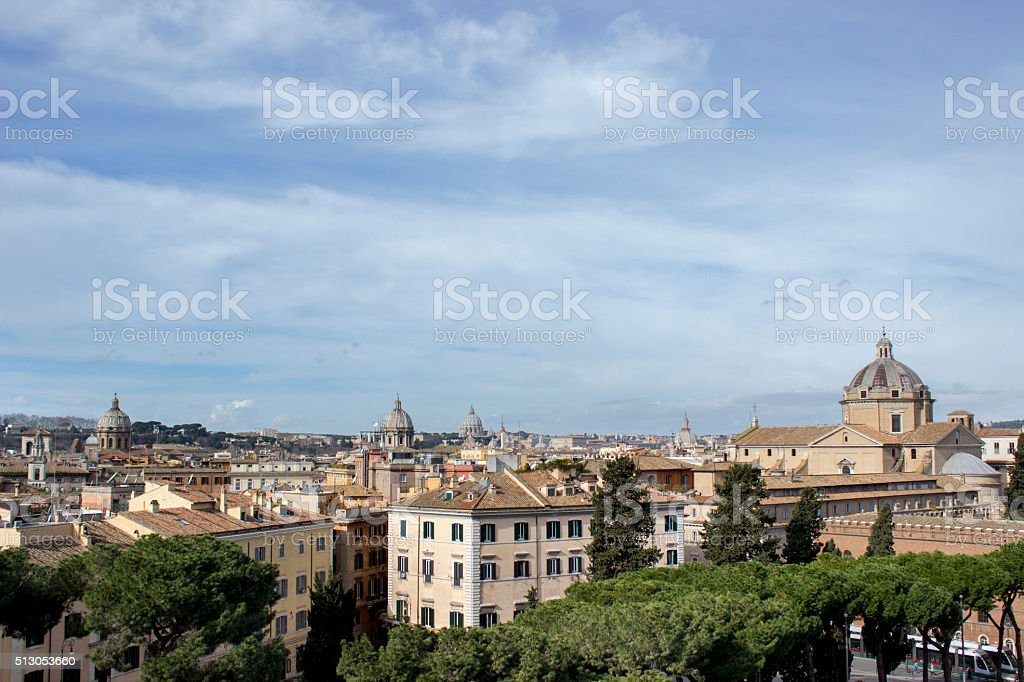 Rome landscape from Vittorio Emanuele Monument's terrace stock photo