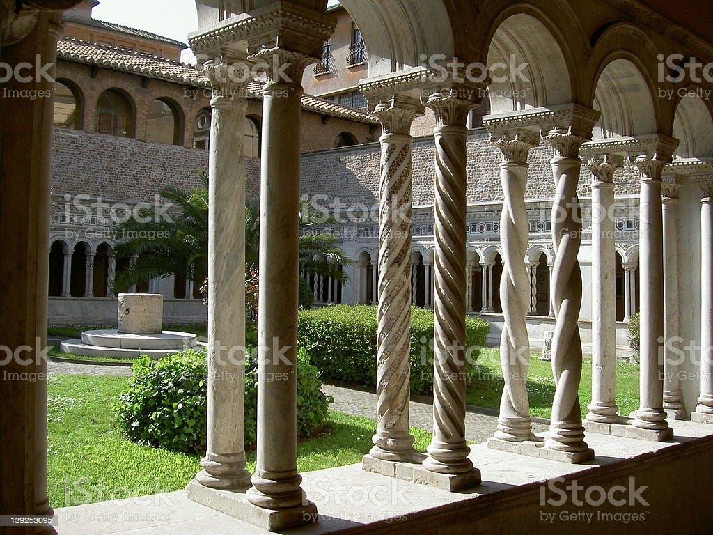 Rome: marble cloister stock photo