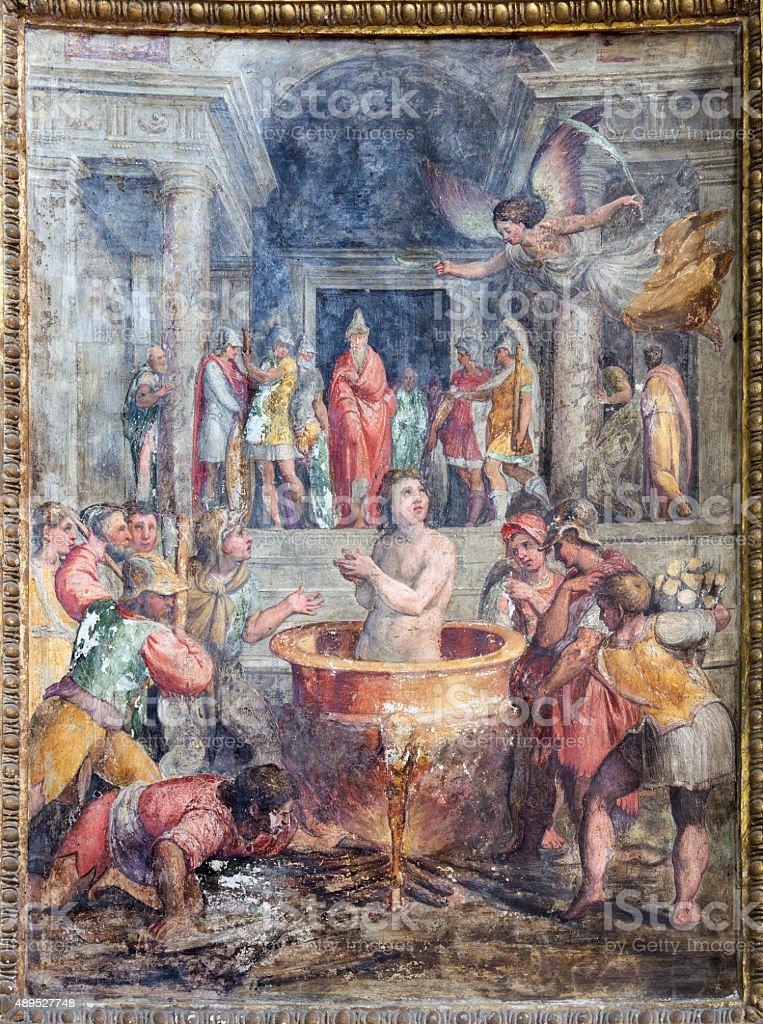 Rome - martyrdom St. John the Evangelist fresco stock photo