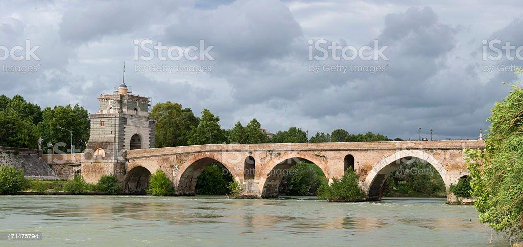 Rome Milvio bridge view stock photo