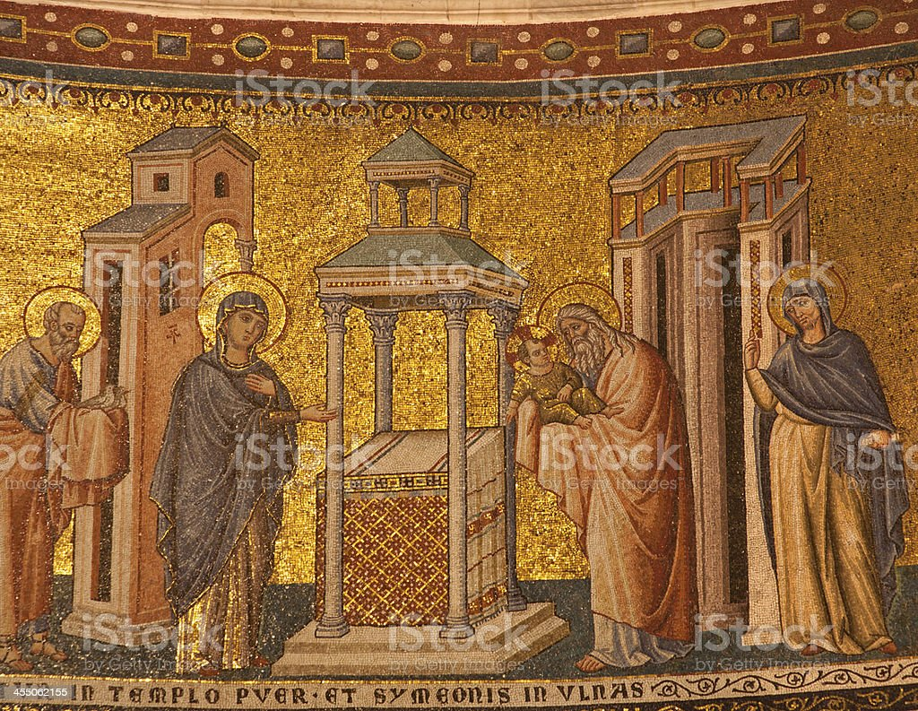 Rome - mosaic of Presentation in the Temple royalty-free stock photo