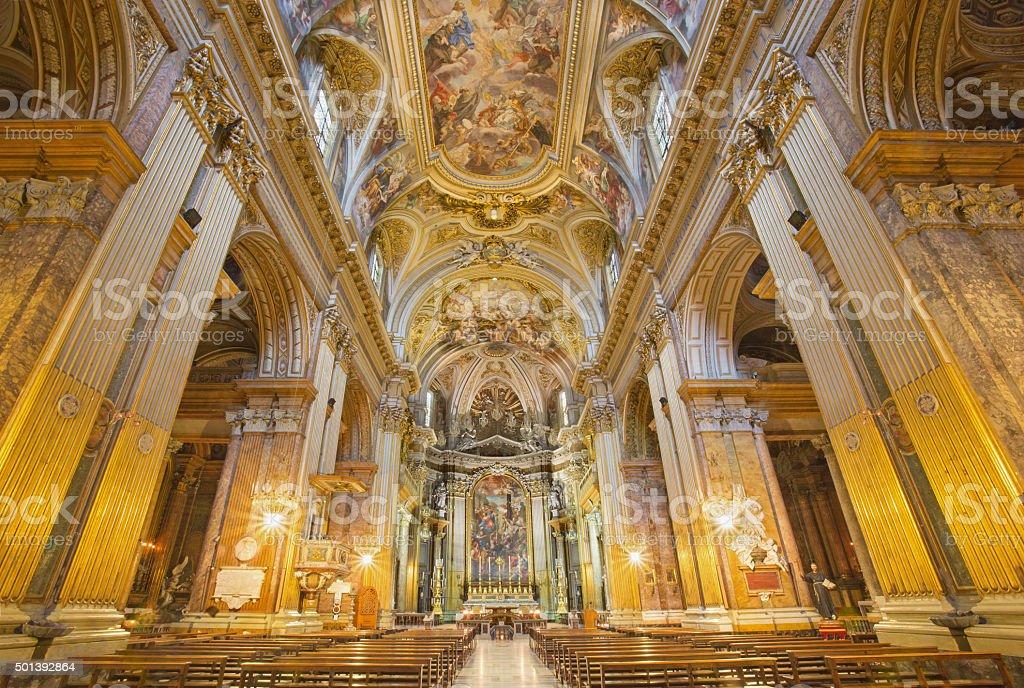 Rome - nave in church Basilica dei Santi XII Apostoli. stock photo