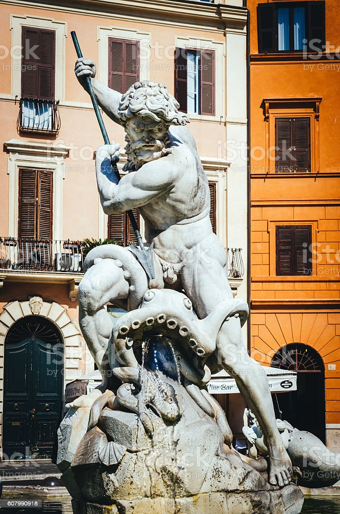 Rome, Neptune, Piazza Navona stock photo