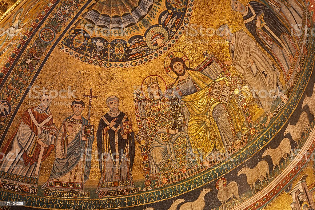 Rome - old mozaic 'Corontation of the Virgin' royalty-free stock photo