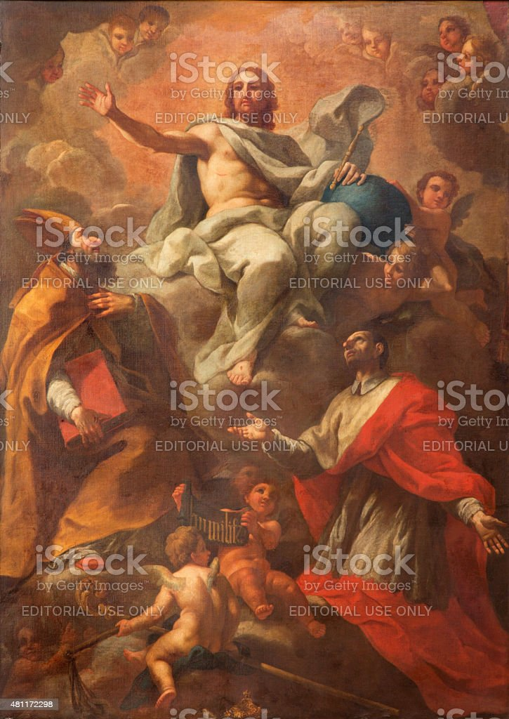 Rome - painting of Christ with the saints stock photo