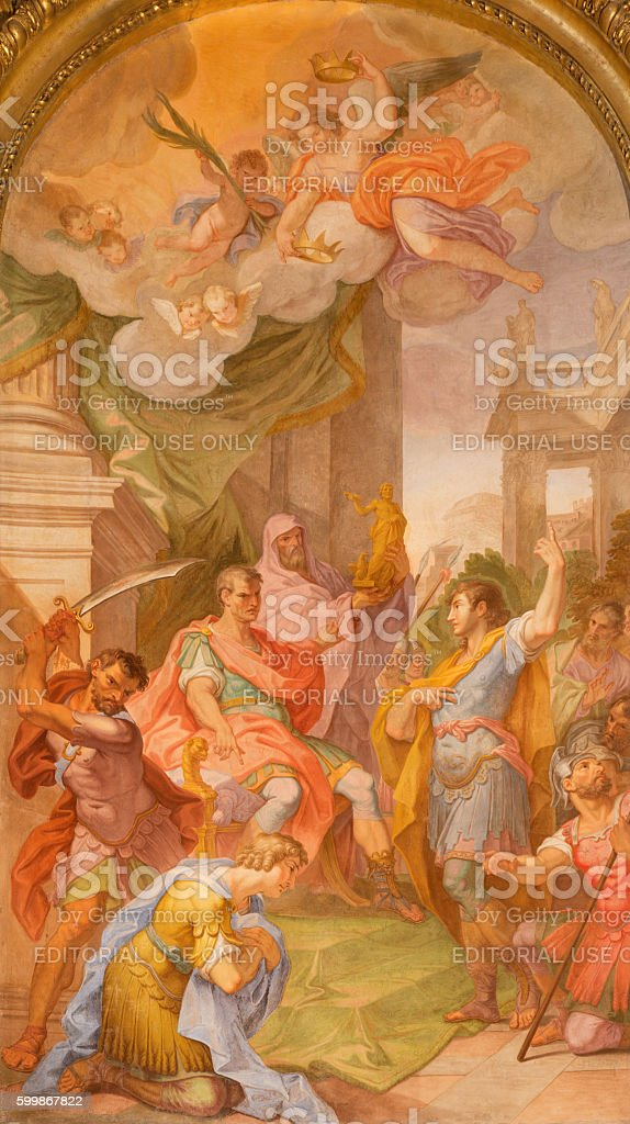 Rome - painting of Martyrdom of SS John and Paul stock photo