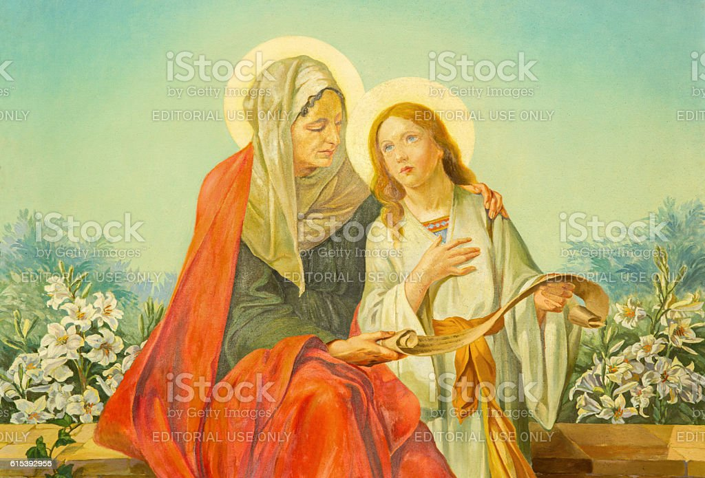 Rome - painting of st. Ann with the Virgin Mary stock photo