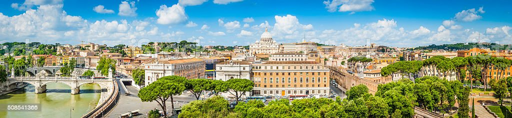 Rome panoramic view across Tiber to Vatican St Peters Italy stock photo