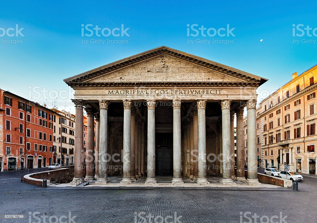 Rome Pantheon Front Rise stock photo
