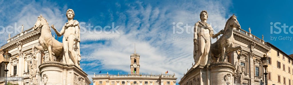 Rome Piazza del Campidoglio Capitoline Hill renaissance museums panorama Italy stock photo