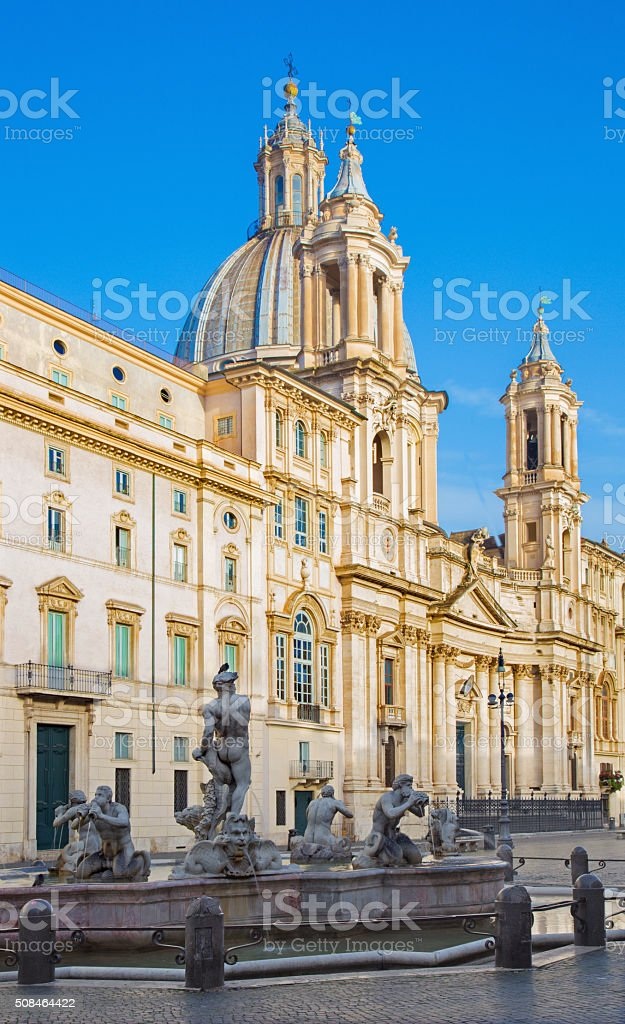 Rome - Piazza Navona and baroque Santa Agnese in Agone stock photo