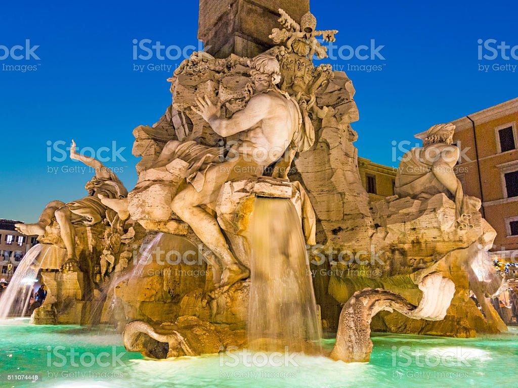 Rome - Piazza Navona and Fontana dei Fiumi  at night stock photo