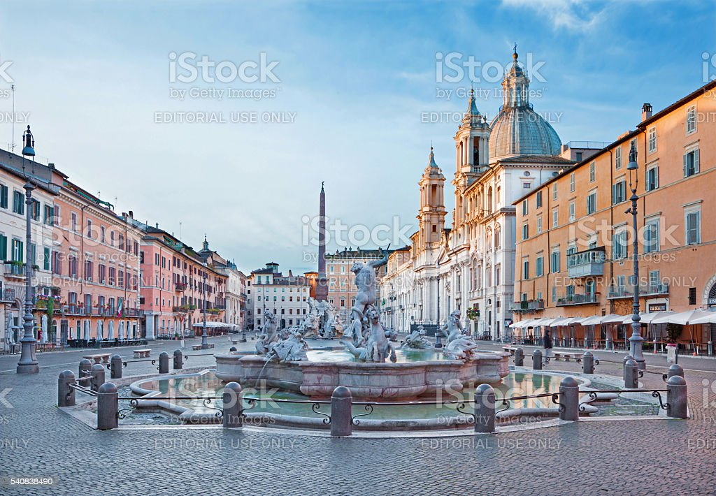 Rome - Piazza Navona and Fountain of Neptune stock photo