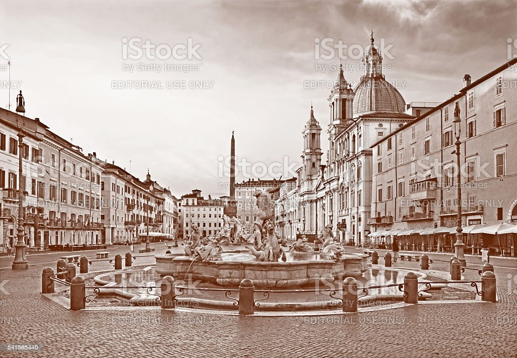 Rome - Piazza Navona in morning and Fountain of Neptune stock photo