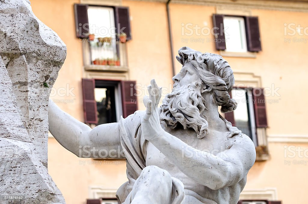 Rome piazza Nnavona fountain from Bernini in Italy stock photo
