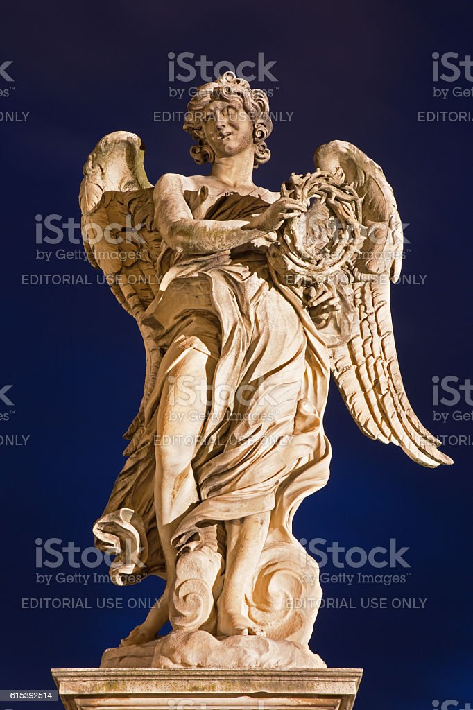Rome -  Ponte Sant'Angelo - Angel with the crown stock photo