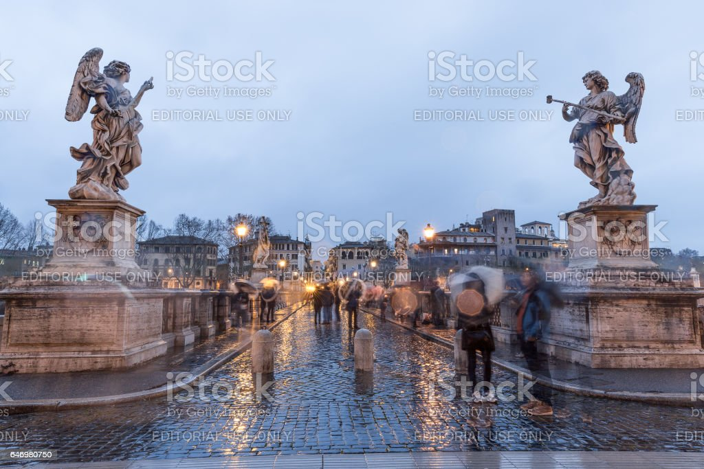 Rome Ponte Sant'Angelo under the rain stock photo