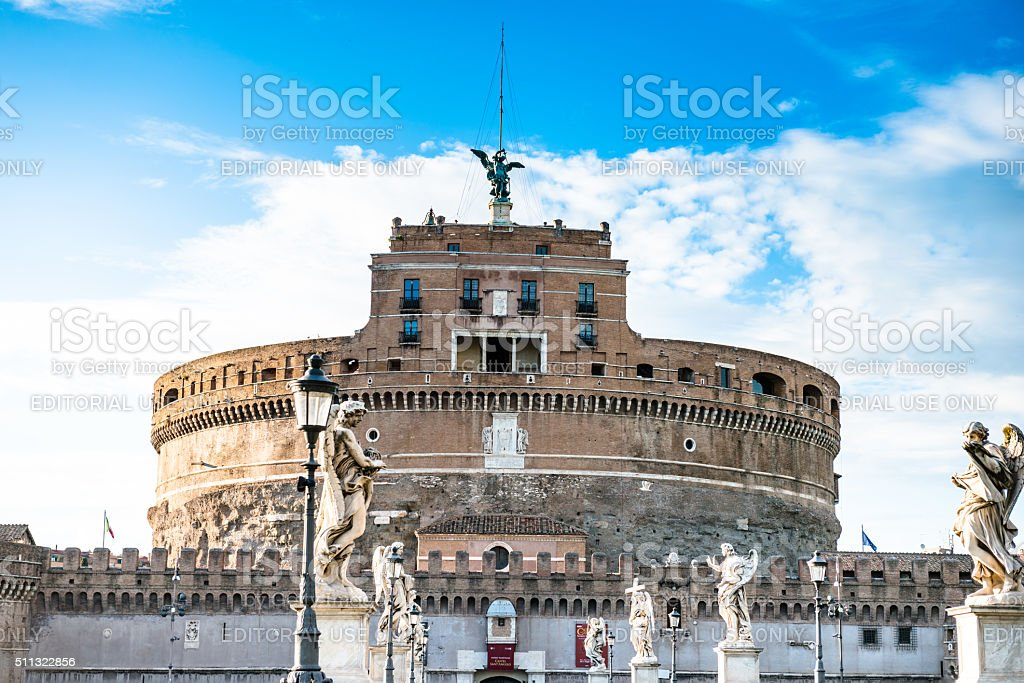 Rome ponte santangelo with the castle in the background stock photo
