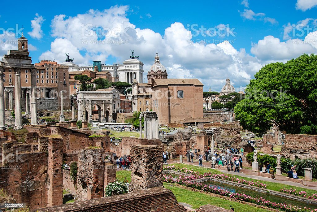 Rome, Roman forum. View from House of the Vestal. stock photo