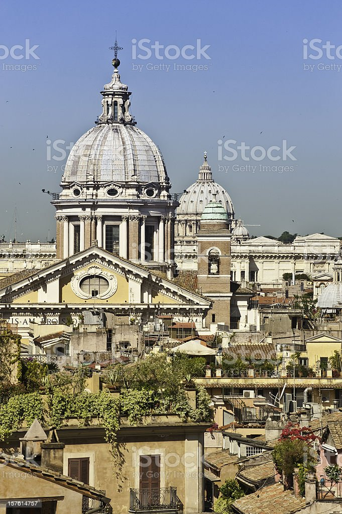 Rome roof gardens and rotundas summer swallows Quirinale cityscape Italy stock photo