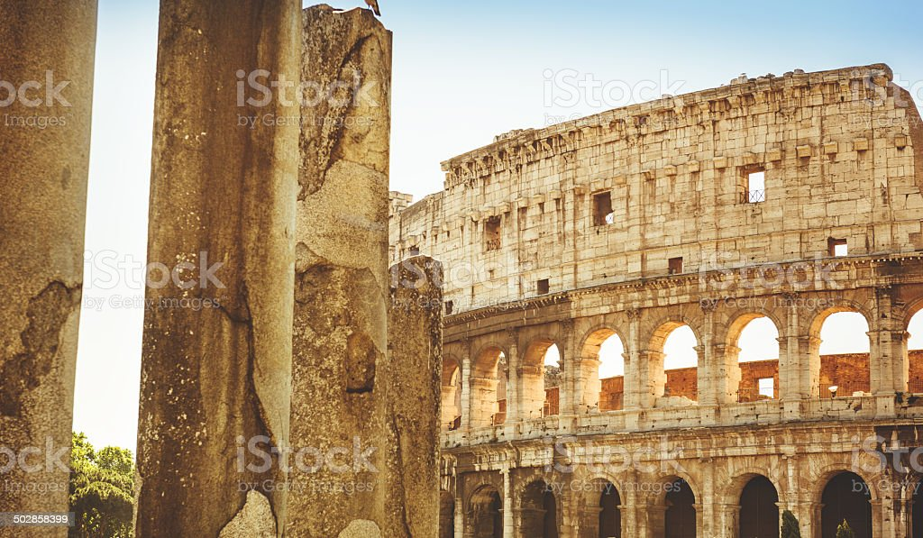 Rome ruin and coliseum stock photo