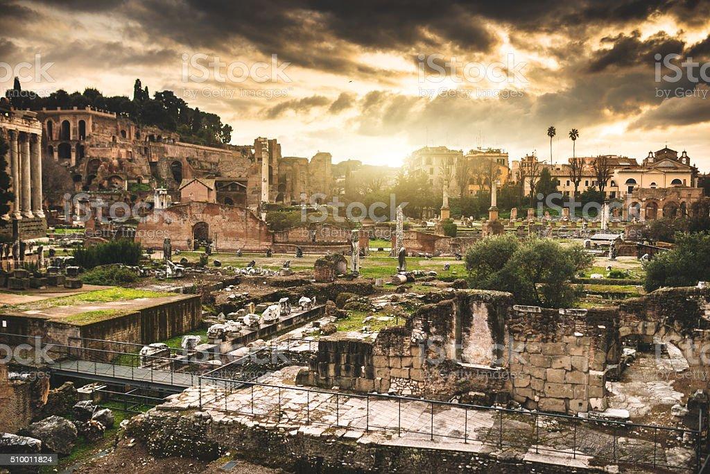 Rome ruin at the fori imperiali stock photo